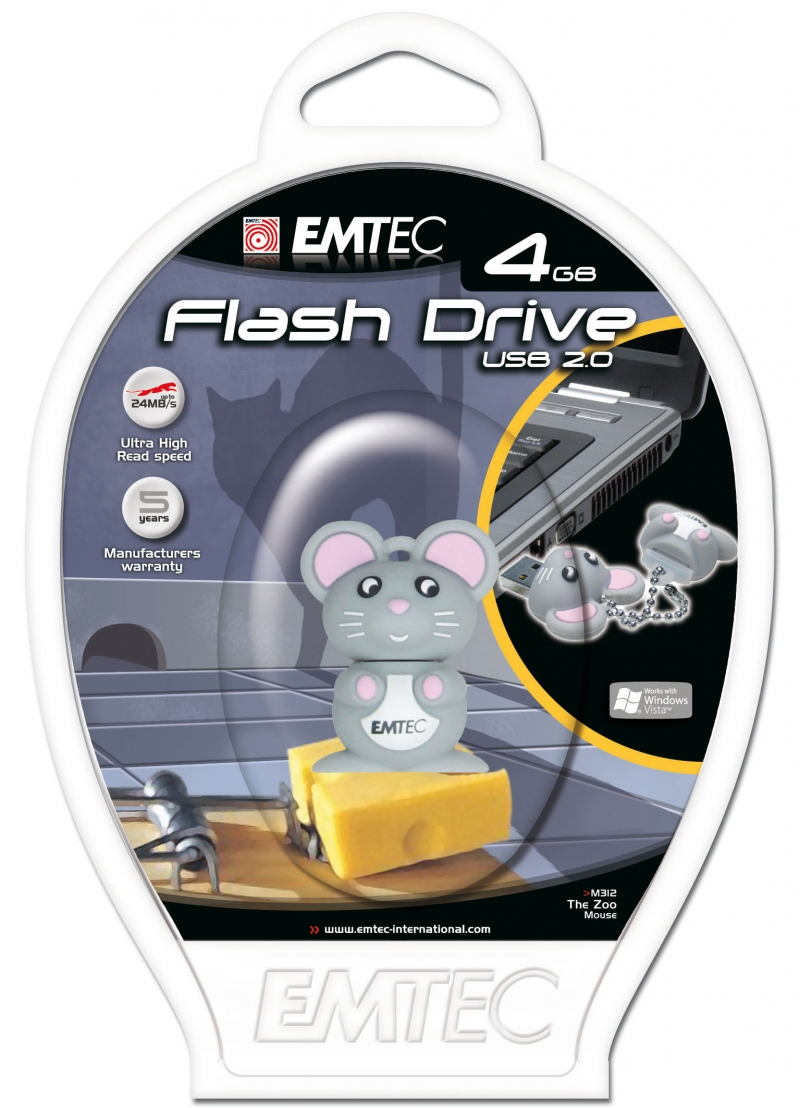 PEN DRIVE EMTEC FLASH ANIMAL RATO 4GB - COD.1316
