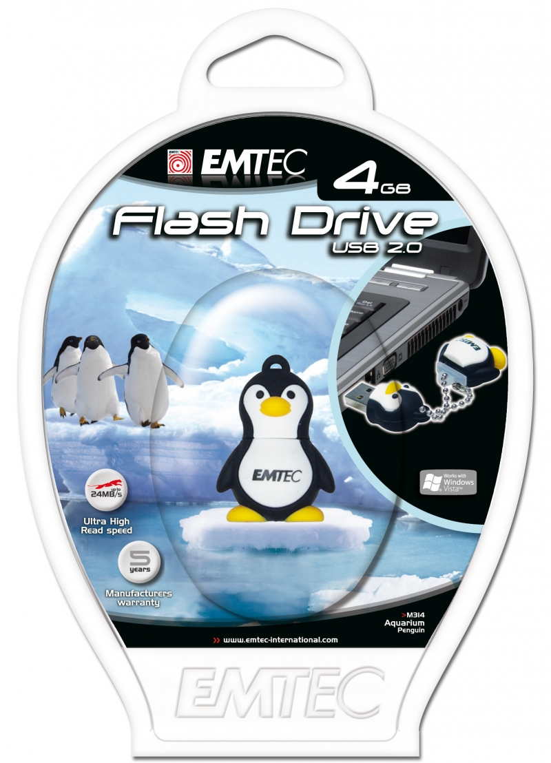 PEN DRIVE EMTEC FLASH ANIMAL PINGUIM 4GB - COD.1312