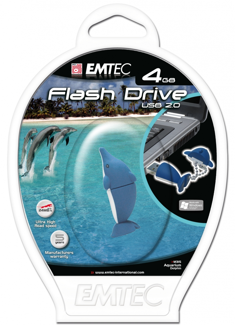PEN DRIVE EMTEC FLASH ANIMAL GOLFINHO 4GB - COD.1313