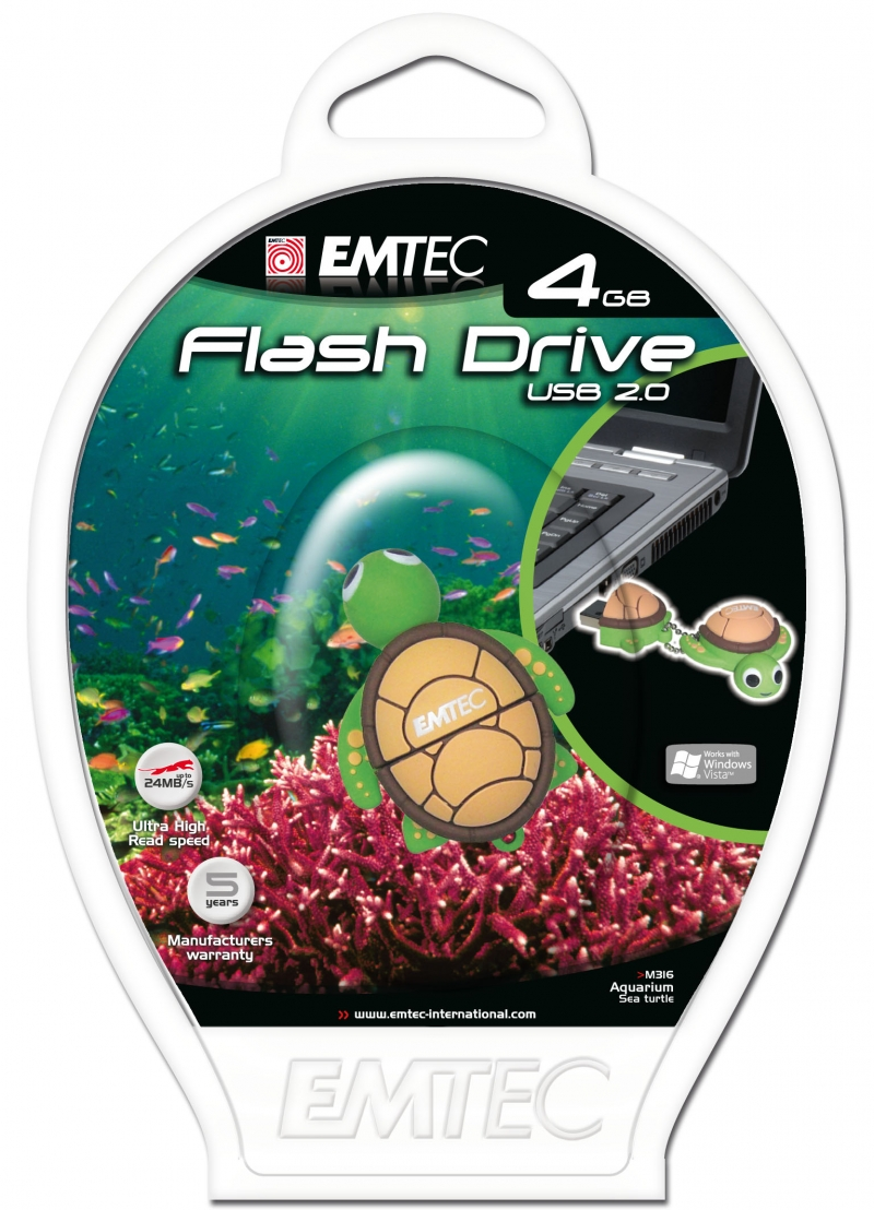 PEN DRIVE EMTEC FLASH ANIMAL TARTARU 4GB - COD.1314