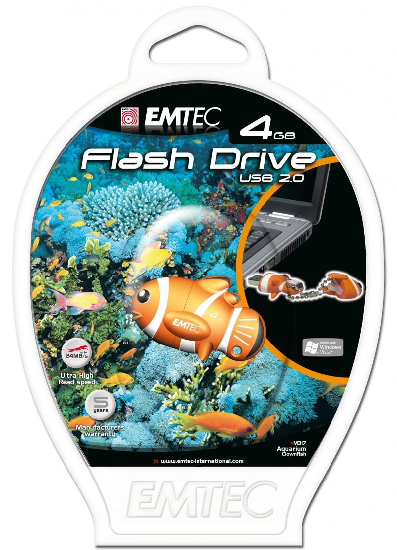 PEN DRIVE EMTEC FLASH ANIMAL PEIXE 4GB - COD.1315