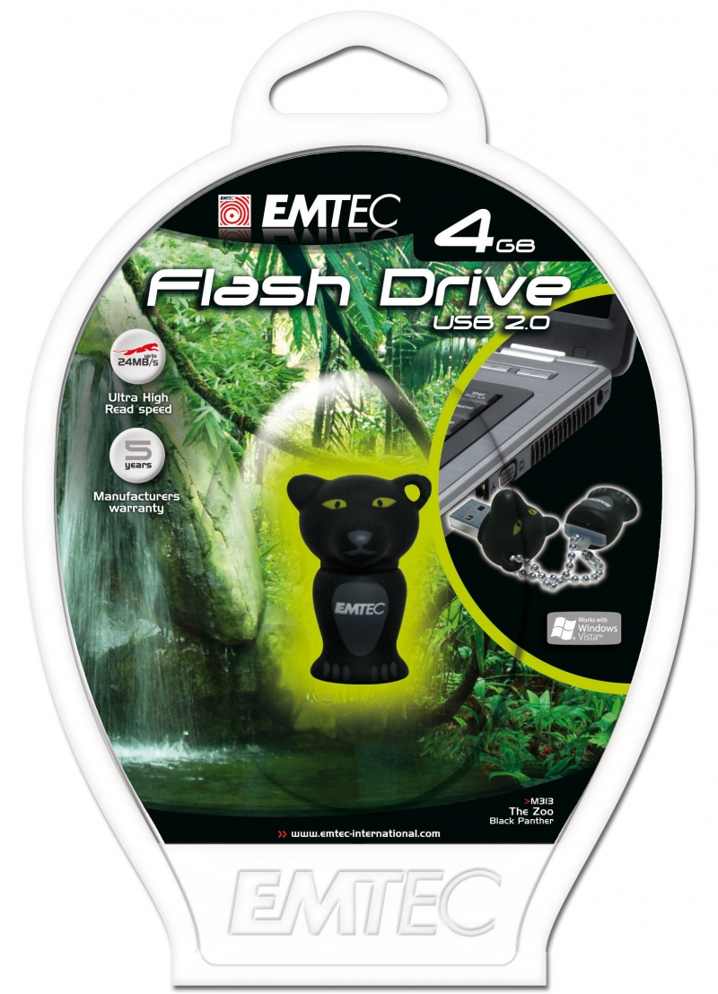 PEN DRIVE EMTEC FLASH ANIMAL PANTERA 4GB - COD.1317