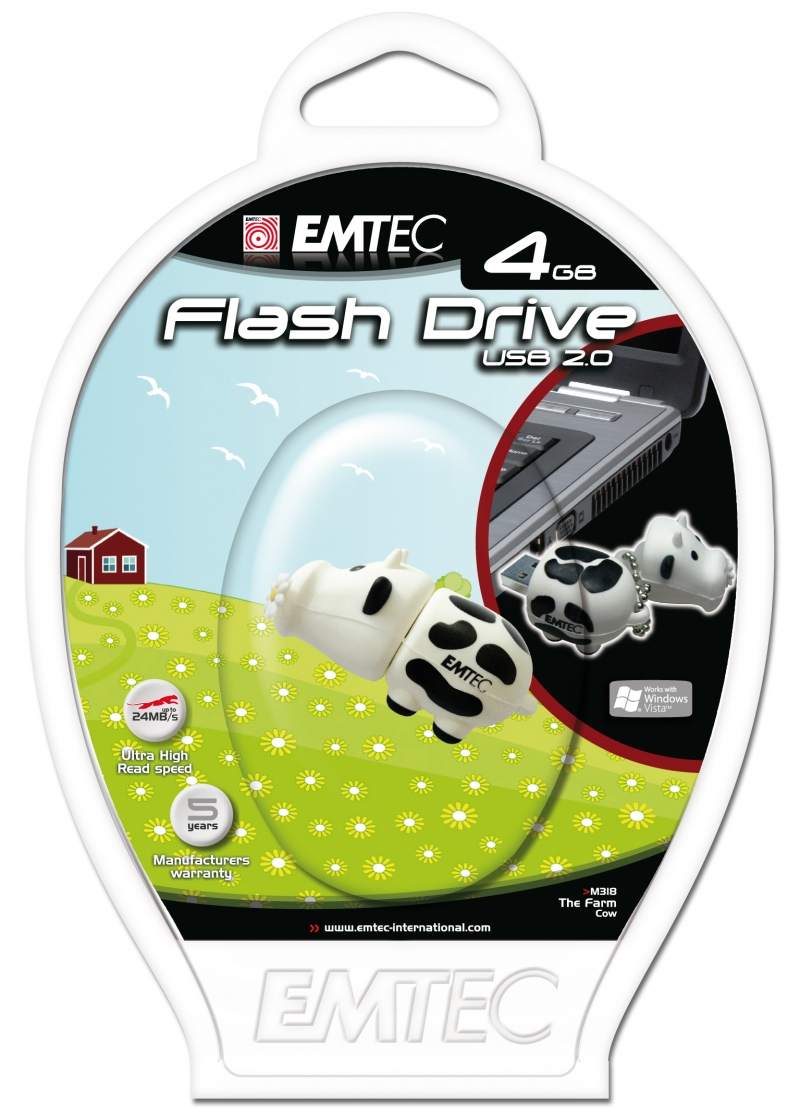 PEN DRIVE EMTEC FLASH ANIMAL VACA 4GB - COD.1318