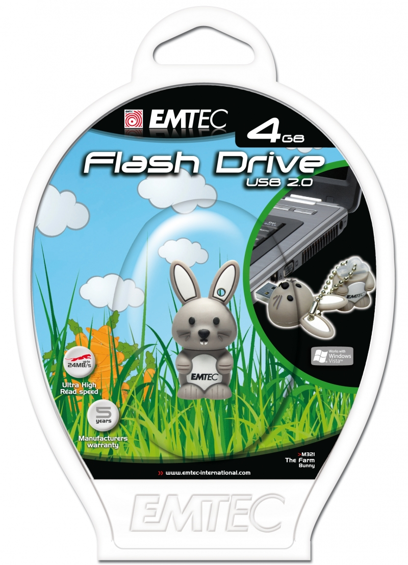 PEN DRIVE EMTEC FLASH ANIMAL COELHO 4GB - COD.1321