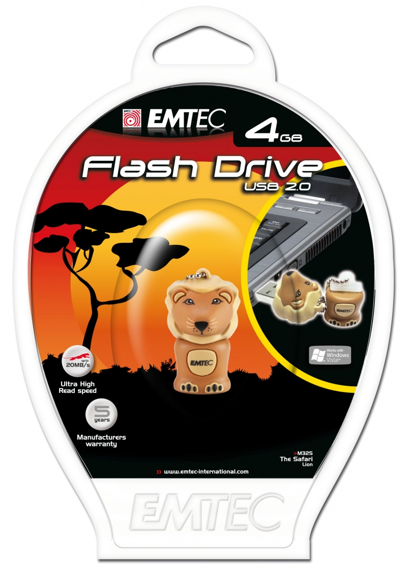 PEN DRIVE EMTEC FLASH SAFARI LEÃO 4GB - COD.1508