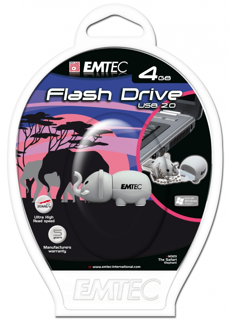 PEN DRIVE EMTEC FLASH SAFARI ELEFANTE 4GB - COD.1506