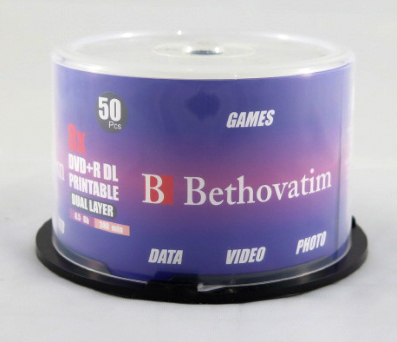 <p>DVD+R BETHOVATIM PINO 240MIN/8.5GB/8X DL PRINTABLE - C&Oacute;D.1477</p>